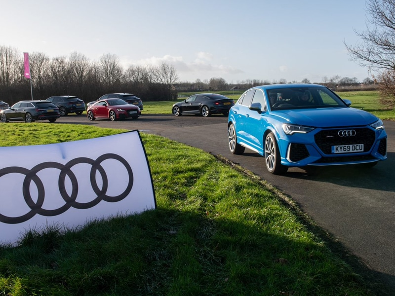 Blue Audi on track for Audi track day